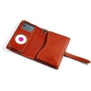 TUN-IP-300019 (キャラメルブラウンレザー/ゴールデングロースティッチ) [iPod nano(1st/2nd)用 キャリングケース] PRIE TUNEWALLET micro sienna