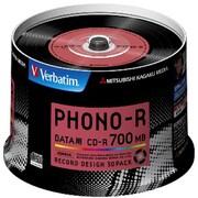 """SR80PH50V1 [データ用CD-R """"Phono-R"""" 700MB 48倍速 スピンドルケース 50枚 レコード盤デザイン]"""