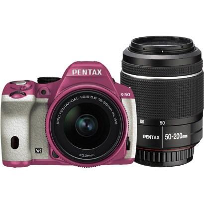 K-50 ダブルズームキット ピンク/ホワイト 011 [ボディ+交換レンズ「smc PENTAX-DA L 18-55mmF3.5-5.6AL WR」「smc PENTAX-DA L 50-200mmF4-5.6ED WR」]