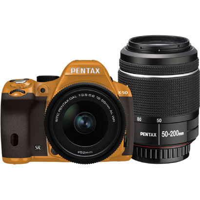 K-50 ダブルズームキット オレンジ/ブラウン 024 [ボディ+交換レンズ「smc PENTAX-DA L 18-55mmF3.5-5.6AL WR」「smc PENTAX-DA L 50-200mmF4-5.6ED WR」]