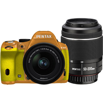 K-50 ダブルズームキット オレンジ/イエロー 027 [ボディ+交換レンズ「smc PENTAX-DA L 18-55mmF3.5-5.6AL WR」「smc PENTAX-DA L 50-200mmF4-5.6ED WR」]
