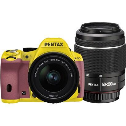 K-50 ダブルズームキット イエロー/ピンク 032 [ボディ+交換レンズ「smc PENTAX-DA L 18-55mmF3.5-5.6AL WR」「smc PENTAX-DA L 50-200mmF4-5.6ED WR」]