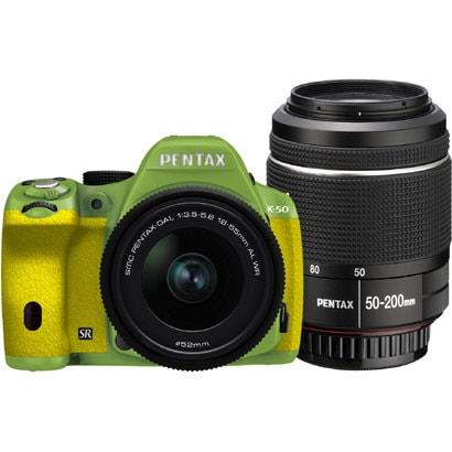 K-50 ダブルズームキット グリーン/イエロー 039 [ボディ+交換レンズ「smc PENTAX-DA L 18-55mmF3.5-5.6AL WR」「smc PENTAX-DA L 50-200mmF4-5.6ED WR」]