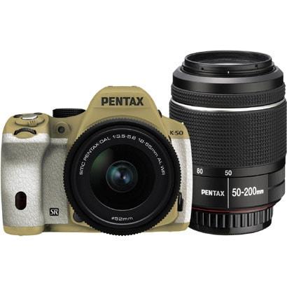 K-50 ダブルズームキット サンドベージュ/ホワイト 059 [ボディ+交換レンズ「smc PENTAX-DA L 18-55mmF3.5-5.6AL WR」「smc PENTAX-DA L 50-200mmF4-5.6ED WR」]