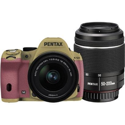 K-50 ダブルズームキット サンドベージュ/ピンク 062 [ボディ+交換レンズ「smc PENTAX-DA L 18-55mmF3.5-5.6AL WR」「smc PENTAX-DA L 50-200mmF4-5.6ED WR」]