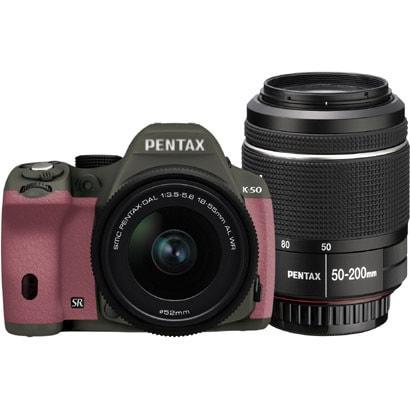 K-50 ダブルズームキット オリーブグリーン/ピンク 068 [ボディ+交換レンズ「smc PENTAX-DA L 18-55mmF3.5-5.6AL WR」「smc PENTAX-DA L 50-200mmF4-5.6ED WR」]