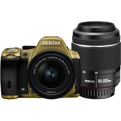 K-50 ダブルズームキット ゴールド/ブラック 070 [ボディ+交換レンズ「smc PENTAX-DA L 18-55mmF3.5-5.6AL WR」「smc PENTAX-DA L 50-200mmF4-5.6ED WR」]