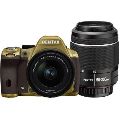 K-50 ダブルズームキット ゴールド/ブラウン 072 [ボディ+交換レンズ「smc PENTAX-DA L 18-55mmF3.5-5.6AL WR」「smc PENTAX-DA L 50-200mmF4-5.6ED WR」]