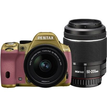 K-50 ダブルズームキット ゴールド/ピンク 074 [ボディ+交換レンズ「smc PENTAX-DA L 18-55mmF3.5-5.6AL WR」「smc PENTAX-DA L 50-200mmF4-5.6ED WR」]