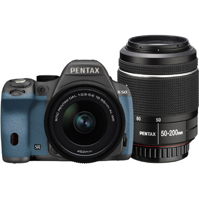 K-50 ダブルズームキット シルバー/アクア 079 [ボディ+交換レンズ「smc PENTAX-DA L 18-55mmF3.5-5.6AL WR」「smc PENTAX-DA L 50-200mmF4-5.6ED WR」]