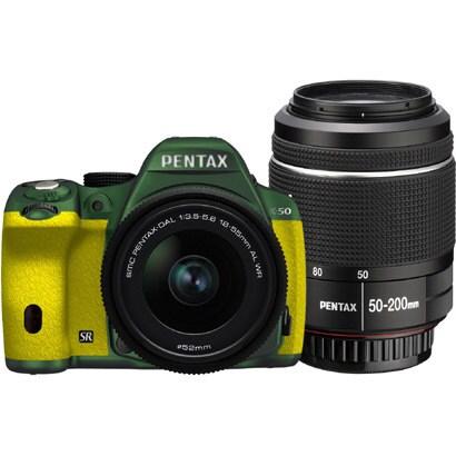 K-50 ダブルズームキット メタルグリーン/イエロー 111 [ボディ+交換レンズ「smc PENTAX-DA L 18-55mmF3.5-5.6AL WR」「smc PENTAX-DA L 50-200mmF4-5.6ED WR」]