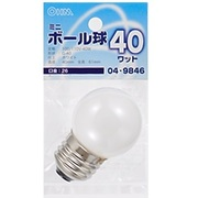 LB-G4640-W [白熱電球 ミニボールランプ E26口金 40W形 40mm径 ホワイト]