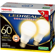 LDA8L-G/60W-2P [LED電球 E26口金 電球色 810lm E-CORE(イー・コア) LED REAL 2個入]