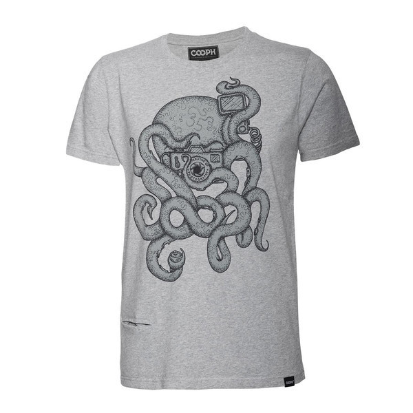 t-shirt octographer gray melange L [レンズキャップポケット付き Tシャツ サイズL グレイ]