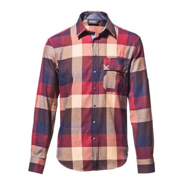 l/s shirt laid back brown check M [レンズキャップポケット レンズクロス付き 長袖シャツ サイズM ブラウン]