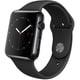 Apple Watch 42mmスペースブラックステンレススチールケースとブラックスポーツバンド