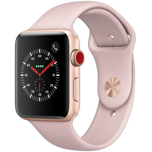 Apple Watch Series 3 (GPS + Cellularモデル) - 42mm ゴールドアルミニウムケース と ピンクサンドスポーツバンド [MQKP2J/A]