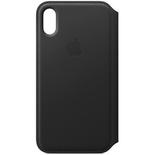 iPhone X レザーフォリオケース - ブラック