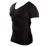Vネックメンズ加圧インナーシャツ ブラック Lサイズ マッスルプロジェクト
