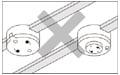 埋込ローゼット・丸型引掛シーリングを外部配線している天井
