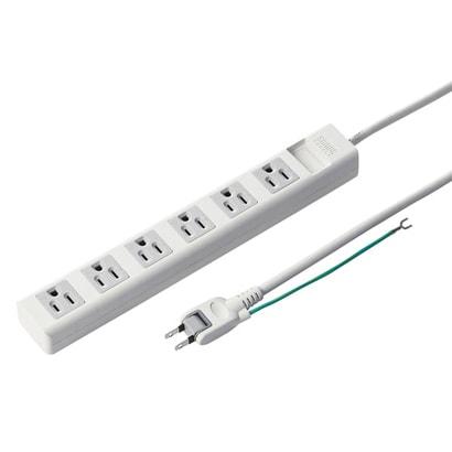 サンワサプライ マグネット付電源タップ 3P式/6個口 .5m トラッキング防止プラグ ホワイト TAP-N365MGN 1個