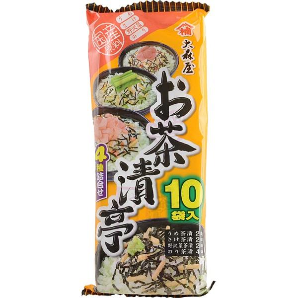 お茶漬亭 4種詰合せ 国産原料 のり 野沢菜 さけ うめ 10袋入 袋50g