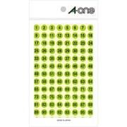 08084 [特殊ラベル 数字 蛍光緑 丸型 9mmφ 4シート(1~100 各4片)]