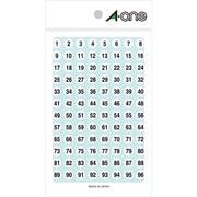 08086 [特殊ラベル 数字 白 丸型 9mmφ 4シート(1~100 各4片)]