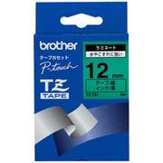 TZ-731 [ラミネートテープ 黒文字、緑テープ、12mm]