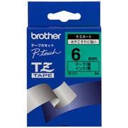 TZ-711 [ラミネートテープ 黒文字、緑テープ、6mm]