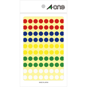 07014 [カラーラベル アソートタイプ 赤・青・黄・緑・白 丸型 9mmφ 11シート]