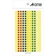 07074 [カラーラベル アソートタイプ 赤・青・黄・緑・白 丸型 5mmφ 7シート]