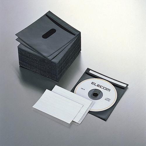 CCD-016LBK [CD/DVD 厚手不織布ケース 2枚収納 ブラック 100枚入り]