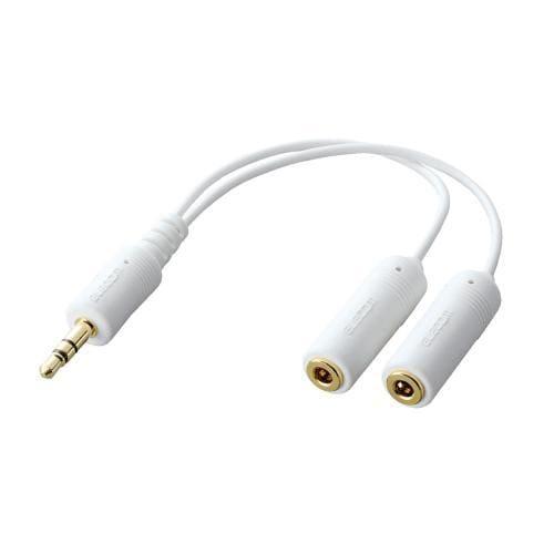 IPC-AS/WH [iPod用モバイルオーディオケーブル ステレオミニジャック分配 0.1m ホワイト]