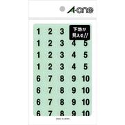 08074 [特殊ラベル 数字 透明(黒文字)丸型 15mmφ 4シート(1~10 各16片)]