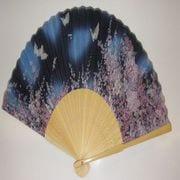 シルク扇子 花と蝶 ブルー