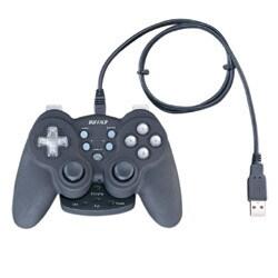BGCWUCF1201BK [振動&連射機能付 デジタル&アナログ USB無線ゲームパッド 12ボタン ブラック]
