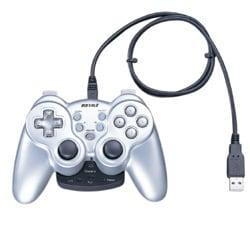 BGCWUCF1201SV [振動&連射機能付 デジタル&アナログ USB無線ゲームパッド 12ボタン シルバー]