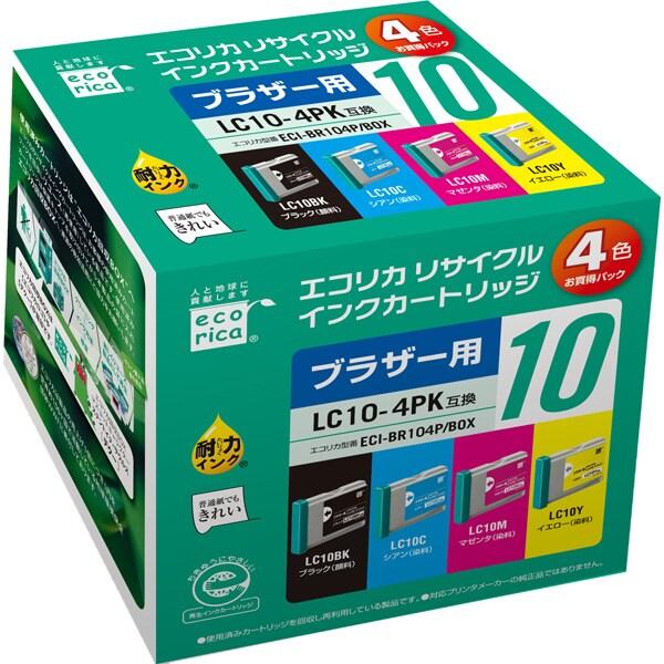 ECI-BR104P/BOX [ブラザー LC104PK 互換リサイクルインクカートリッジ 4色パック]