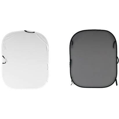 LB56GW [折り畳み式プレーンリバーシブル背景 1.5×1.8m ホワイト/ミッドグレイ]