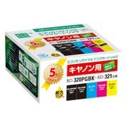 ECI-C320+3215P/BOX [キヤノン BCI-321+320/5MP 互換リサイクルインクカートリッジ 4色パック+320PGBK互換]