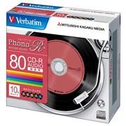 MUR80PHS10V1 [音楽用CD-R 1-24倍速 700MB 10枚 5色カラーレーベル レコード盤デザイン]