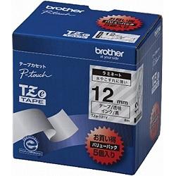 TZe-131V [ラベルライターピータッチ用 ラミネートテープ 5本パック 透明テープ 黒文字 幅12mm 長さ8m]