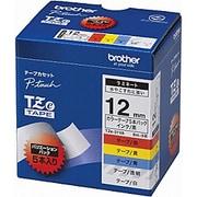 TZe-31VA [ラベルライターピータッチ用 ラミネートテープ 5本パック 白/黄色/赤/青/透明テープ 黒文字 幅12mm 長さ8m]