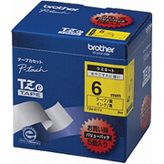 TZe-611V [ラベルライターピータッチ用 ラミネートテープ 5本パック 黄テープ 黒文字 幅6mm 長さ8m]