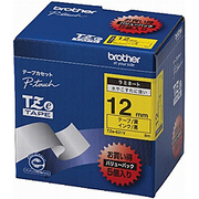 TZe-631V [ラベルライターピータッチ用 ラミネートテープ 5本パック 黄テープ 黒文字 幅12mm 長さ8m]