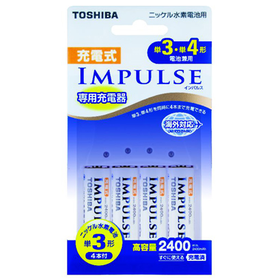TNHC-34AH [IMPULSE(インパルス)充電器セット 単3・単4形電池兼用 単3形ニッケル水素電池4本付 最大4本まで充電可能]