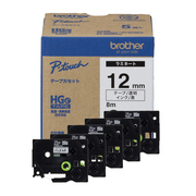 HGe-131V [ラベルライターピータッチ用 ラミネートテープ 高解像度印刷対応 5本パック 透明テープ 黒文字 幅12mm 長さ8m]