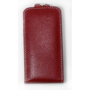 iPhone4/4S対応 エンボスレザー カバー付きケース レッド