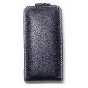 iPhone4/4S対応 エンボスレザー カバー付きケース ネイビー
